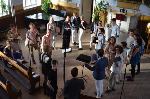 The Royal College of Music Chamberchoir rehearsing during Ljudvågor 2018